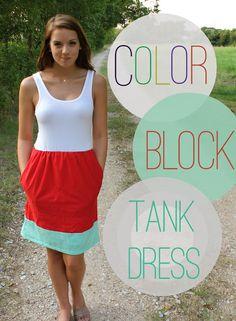 Sweet Verbena: Color Block Tank Dress: a tutorial