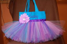 Gorgeous Turquoise & Purple Tutu Bag PERSONALIZED by bashergirl, $30.00  www.facebook.com/TutuTotesByJodie