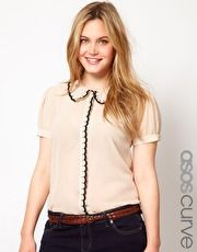 ASOS CURVE Blouse With Scalloped Collar