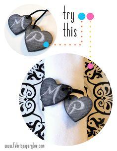 Fabric Paper Glue | DIY Chalkboard Hearts Napkin Tie Tutorial