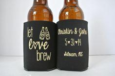 Let Love Brew Wedding Koozies koozie by yourethatgirldesigns, $89.00