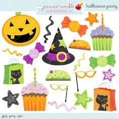 Halloween Party Favors Cute Digital Clipart - Commercial Use Ok - Halloween Graphics, Halloween Clipart, Digital Art halloween parties, halloween party favors, craft illustr, halloween clipart, diy craft, digit clipart, parti favor, parti clipart, halloween graphic