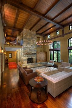 I love stone, fireplaces, and high ceilings!