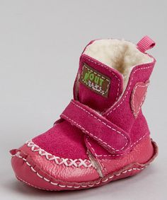 Seriously cute. :: Pink Suede Heart Strap Crib Boot by Piccolo Bambino on #zulily