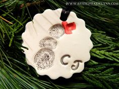 thumbprint ornaments made with baking clay and crayons/markers