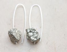 Rough Pyrite Modern Earrings Argentuim Sterling Silver gray raw pyrite Handmade Urban Minimalist Jewelry on Etsy, $32.31