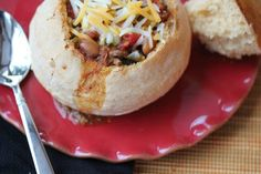 Spicy Southern Chili, served in Bread Bowls (with bread bowl recipe) chili bread, bread bowl recipe, spici southern, food, chilis, bread bowls, breads, freezer meal, southern chili