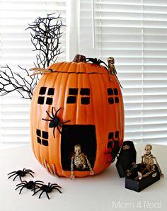 Haunted House Skeleton Pumpkin Made With a Foam Pumpkin