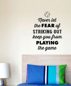 'The Fear of Striking Out' - this is a perfect wall decal for a boy's room.