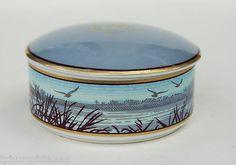 Tiffany Co Round Porcelain Vanity Trinket Box Beautiful Scene with Birds
