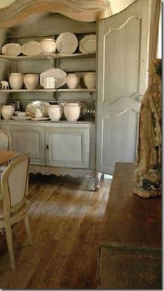 Love the collection of white in a Beautiful French Cupboard!    Acquired Objects