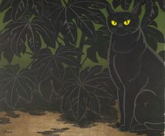 Cat in Bush   by Inagaki Tomoo (Harvard Art Museums)