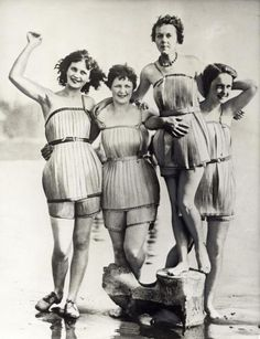 Wooden bathing suits (supposedly to make swimming easier) Washington, 1929 ~ yikes