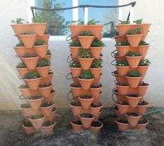 VERTICAL CONTAINER GARDENS: Short on space or sunlight? Stacking is a vertical gardening technique & these planters are a nifty solution. I use them for herbs, strawberries, lettuces & other shallow-rooted edibles. Here's one source via Amazon: http://astore.amazon.com/themicgar-20/detail/B00A3HFNNE. More vertical garden tips @ http://themicrogardener.com/add-space-creative-vertical-gardens-part-2/ | The Micro Gardener