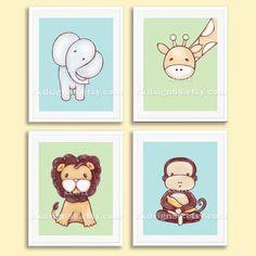 Nursery art prints baby boy nursery decor safari by rkdsign88, $45.00