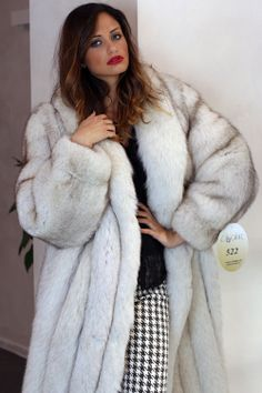 blue fox fur coat