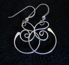 Small Free Form Sterling Silver Earrings, $15.00 USD