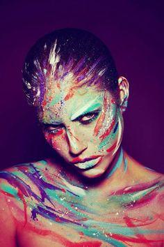 artists, body paintings, colors, makeup art, paints, karla powel, rainbow, stripe, photography