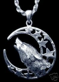 Silver 925 Celtic Wolf Pendant Charm Moon Goddess Star Sterling Silver 925 Jewelry