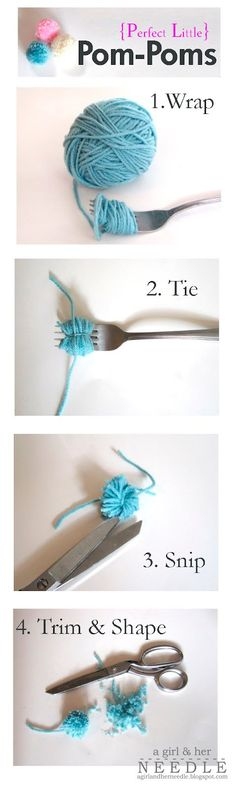 Perfect Little Pom-Poms you can make with a fork! Easy to follow photo tutorial by A Girl and her Needle.
