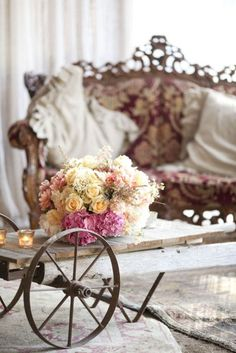 coffee tables, shabbi chic, shabby chic, wheels, ana rosa, antiqu, floral, flower, dreamy wedding