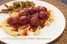 Ultimate Party Meatballs - perfect for a super bowl party! Put 'em on kabobs, serve as appetizers with team colored pics, make meatballs subs, and more fun ideas!