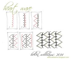 Heart Wave step by step Zentangle pattern