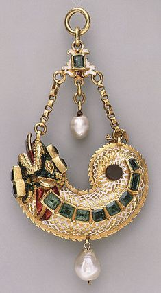 Pendant, gold, enamel, pearls, emeralds Spanish, late 16th–early 17th century