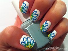 Nail Art  Great colors... would be cute with a white sundress and boots!! :)