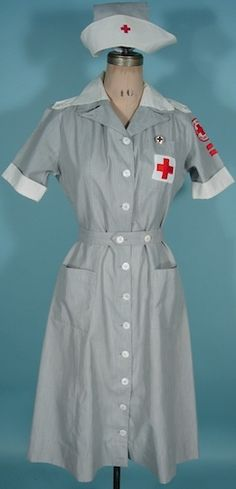 "c. 1942-47 MERCANTILE UNIFORMS, New York WWII ""Gray Lady"" Complete Red Cross Uniform /American Red Cross Volunteer Outfit"