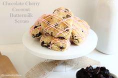Chocolate Cherry Coconut Buttermilk Scones @createdbydiane
