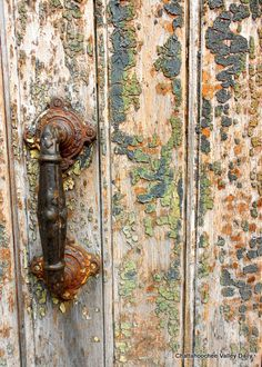 Weathered Patina on Painted Door and Handle   Photographed by Barbara Farr for Chattahoochee Valley Daily