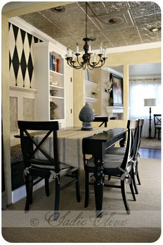 LOVE the Tin Ceiling tile look!!