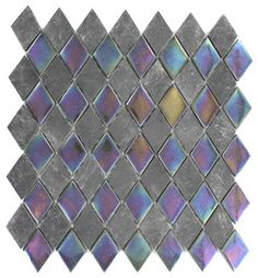 Geological Diamond Black Slate & Rainbow Black Glass Tiles contemporary bathroom tile
