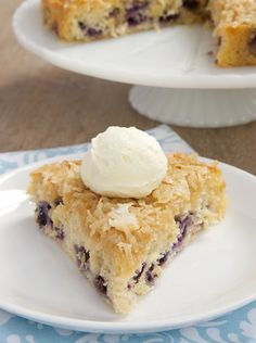 Blueberry Cake with Toasted Coconut Topping Recipe - RecipeChart.com