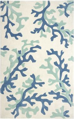 Blue and white coral area rug