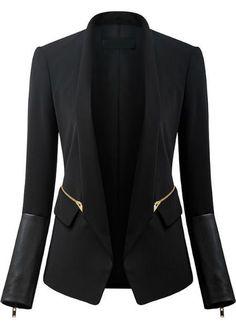 Long Sleeve Zipper Pockets Blazer