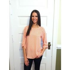 @Harper Dawes.....Chevron and On Blouse-Coral - $40.00