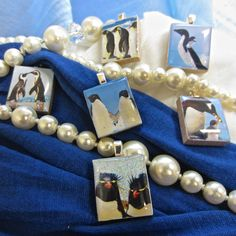 """Cute arctic scrabble tile pendants from our set """"Penguins and Polar Bears"""" - Mango and Lime Design"""