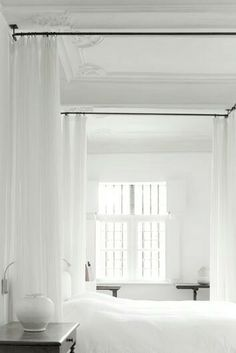 interior, het bed, white decor, white bedrooms, white white, curtain