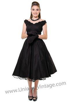 BEST SELLER! QUEEN OF HEARTZ 1950's Style Black Cotton Sateen Scallop Brenda Swing Dress - Unique Vintage - Homecoming Dresses, Pinup & Prom Dresses.