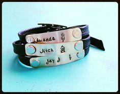 hand stamped leather bracelet, mothers day jewelry, mom jewelry