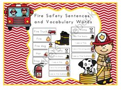 Fire Safety Vocabulary Words and Sentences from Preschool Printables on TeachersNotebook.com -  (11 pages)  - Fire Safety Vocabulary Words and Sentences  20 word cards 19 sentences These cards match this set.  Fire Safety Printable These cards are great for pocket charts.