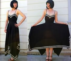 Love the hankerchief hem and use of trim on this dress. Easy way to make a simple dress pattern fantastic.