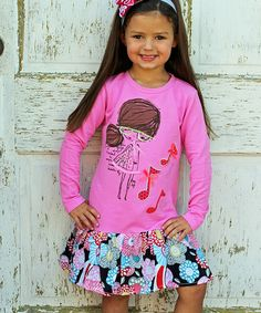 Loving this Pink Singing Girl Drop-Waist Dress - Toddler & Girls on #zulily! #zulilyfinds