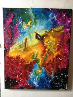 beautiful galaxy painting by BelleProductions on Etsy, $239.00 trying to keep her face out there! Will allow a payment plan! <33