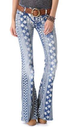 Free People Stripe Bali Flare Jeans