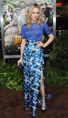 Rachel McAdams earing a gorgeous maxi skirt split to the thigh when she attended the 'Journey 2: The Mysterious Island' premiere.