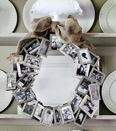 super snaps: Love this idea! A bunch of dollar store small frames to create a meaningful wreath. Great anniversary retirement or birthday gift.