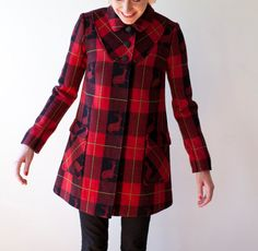 buffalo check with reindeer woven in it!!! amazing Poppy von Frohlich wool coat #poppyvonfrohlichgiveaway